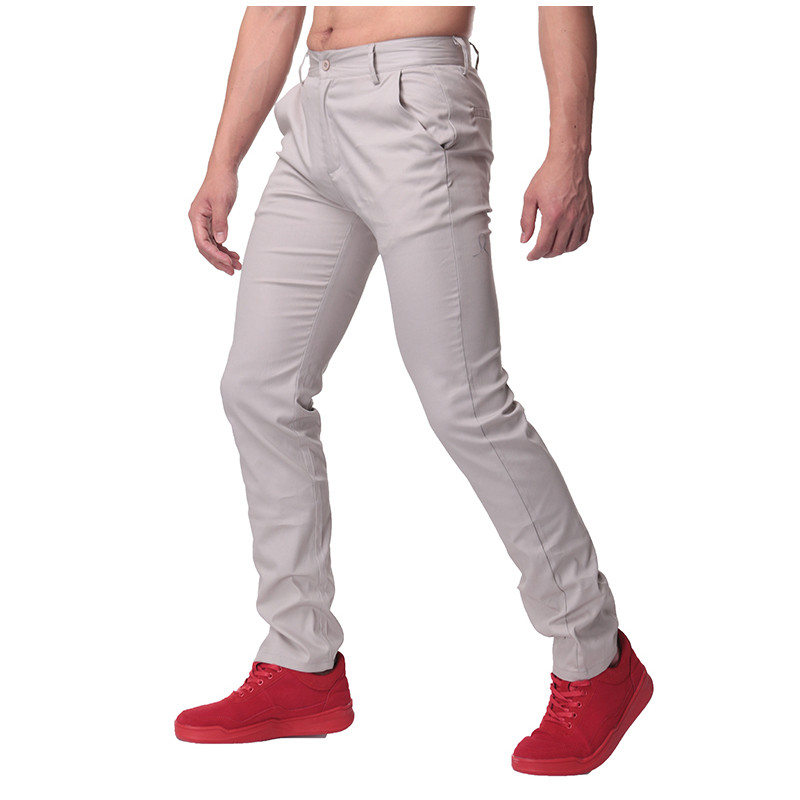 High Quality Autumn Mens Casual Business Work Pants Soft Cotton Slim chinos Trousers Regular Straight Suits