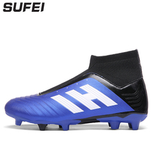 Купить с кэшбэком sufei Football Boots 2018 FG Soccer Shoes Men Outdoor Kids High Ankle Soocer Training Boots Socks Cleats Sport Sneakers