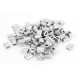 UXCELL100 Pcs 1/16 Draht Seil Aluminium Ärmeln Clip Armaturen Kabel Crimps Fit für Stahl Draht Seil Durchmesser 1,8mm /1/16