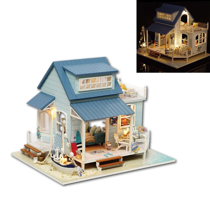 CuteRoom A-037-A Caribbean DIY Wooden Dollhouse Miniature Kit With Light Music Motor Best Gift For Children Girls