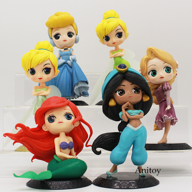 Q Posket Characters Princess Ariel Jasmine Rapunzel Cinderella Tinker Bell PVC Figure Collectible Model Toy 10-15cm