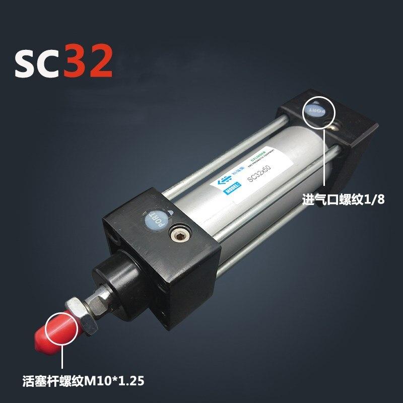 SC32 * 50 Frete grátis Padrão cilindros de ar válvula 32mm furo 50 milímetros avc SC32-50 haste simples duplo efeito cilindro pneumático