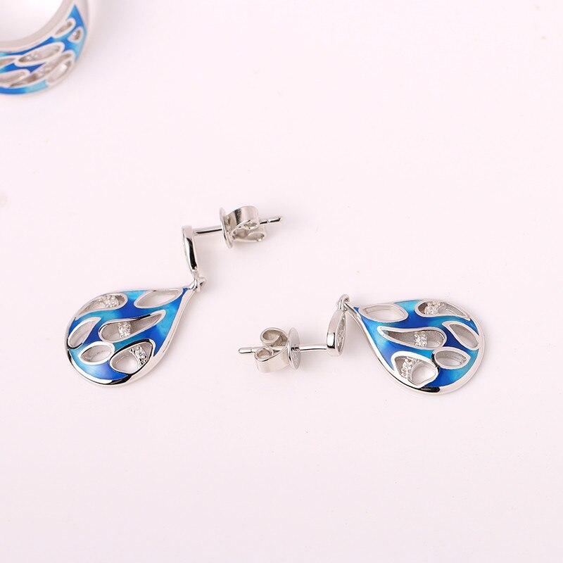 925 Sterling Argent Émail Femmes Boucles D'oreilles Bleu Émail Fleur et Petit Zircon boucles D'oreilles pour les Femmes Parti Bijoux - 4