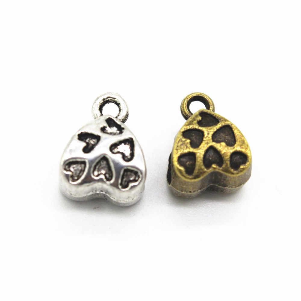 100 sztuk 11*9*7mm serce instrumentu umorzenia lub konwersji długu koraliki złącze antyczny brąz/srebrny Vintage metalowe ze stopu cynku koraliki końcowe DIY ocena biżuteria