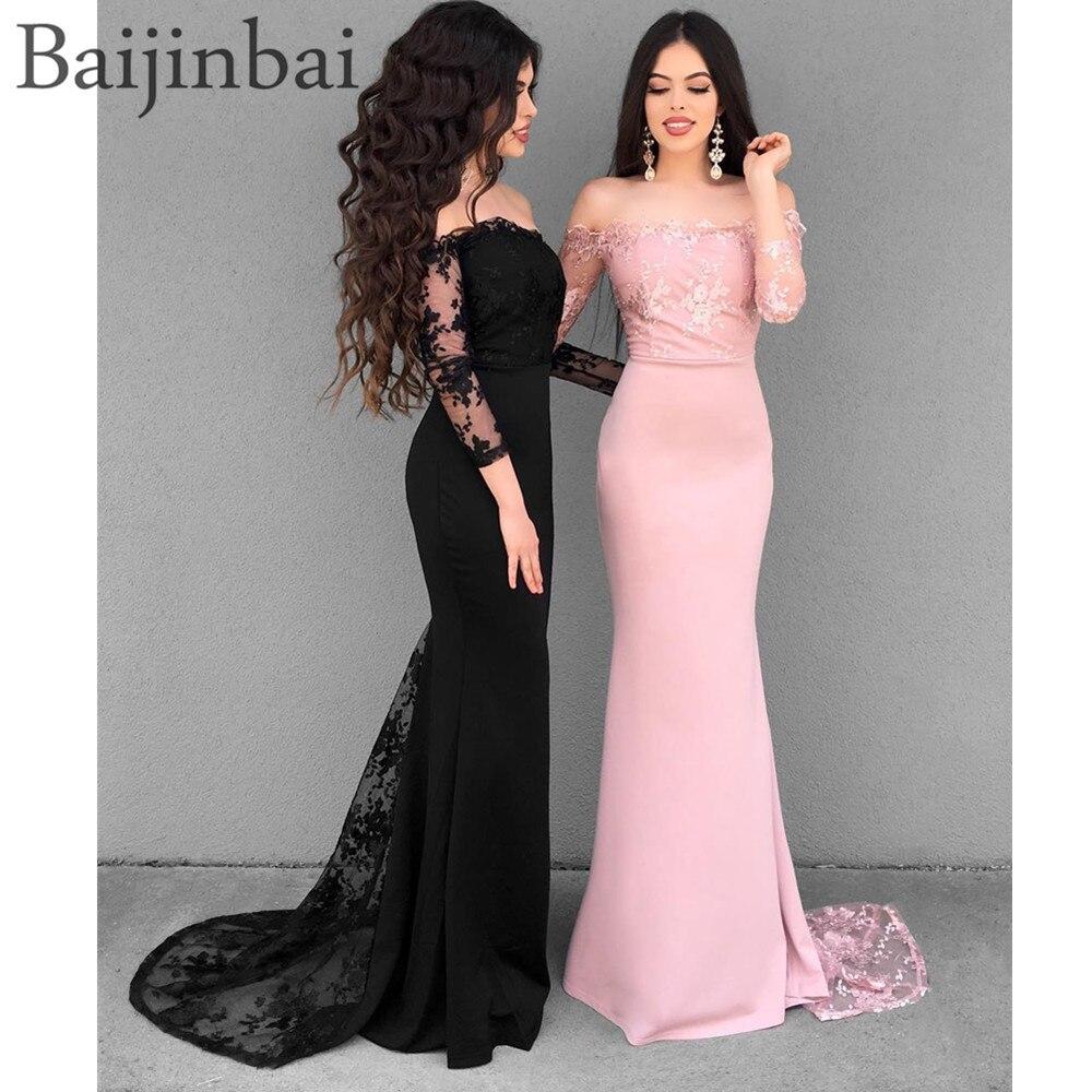 Baijinbai Long   Bridesmaid     Dresses   Off Shoulder Lace Appliques Wedding Guest   Dress   Abendkleider 2019 Vestido longo Party   Dress