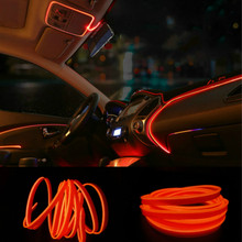 JURUS Diy Decorative Dashboard Car Door El Wire Rope Tube Neon Light Line 3Meters 10 colors + 12v Cigarette Lighter Inverter