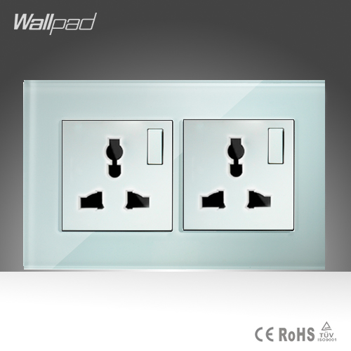Double 1 Gang 2 way Universal Sokcet Wallpad White Glass Manual Button Switch and 10A Universal Switched Socket Free Shipping wallpad luxury double 13 a uk switched socket goats brown leather 1 gang switch and 13a wall socket with neon free shipping