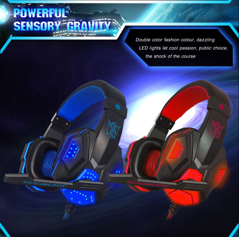 PLEXTONE LED Light Gaming Headphones with Mic Stereo Earphone Over-ear Headset Noice Cancel for IOS Android Smartphone Table PC