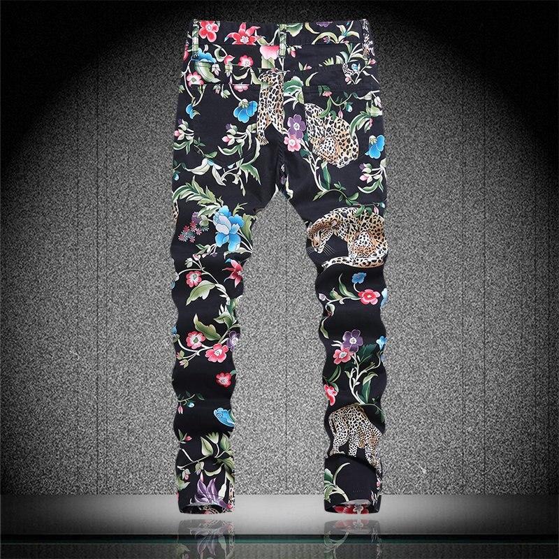 Fashion Flower Leopard Print Man Jeans New Arrival Man Denim Trousers