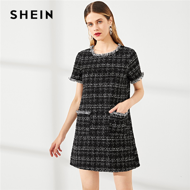 fd1b1df6c7 Detail Feedback Questions about SHEIN Black Round Neck Frayed Edge Button  Detail Tweed Dress Fringe Weekend Casual Hem Women Summer Modern Lady Short  Dress ...