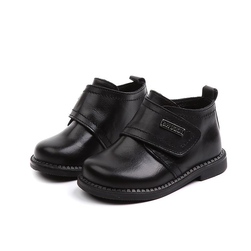 Kine Panda Little Boys Boots Kids Genuine Leather Uniform