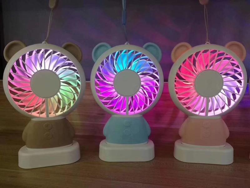 ULIFART font b USB b font Portable Rechargeable Fan Handy Colorful Light Changing Cooler Fan PC
