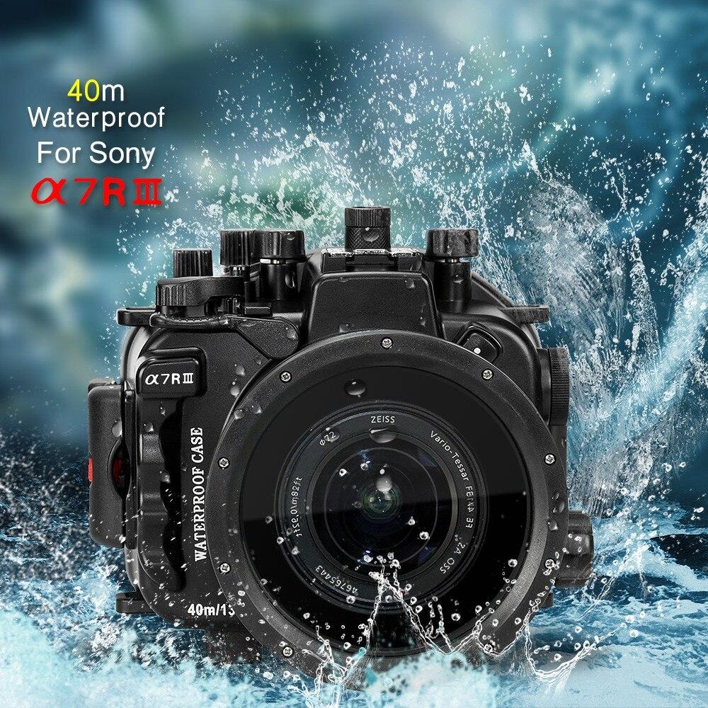Aletas marinas 40 m/130ft Cámara bajo el agua vivienda caso para Sony A7 III A7R III A7M3 A7RM3 Cámara