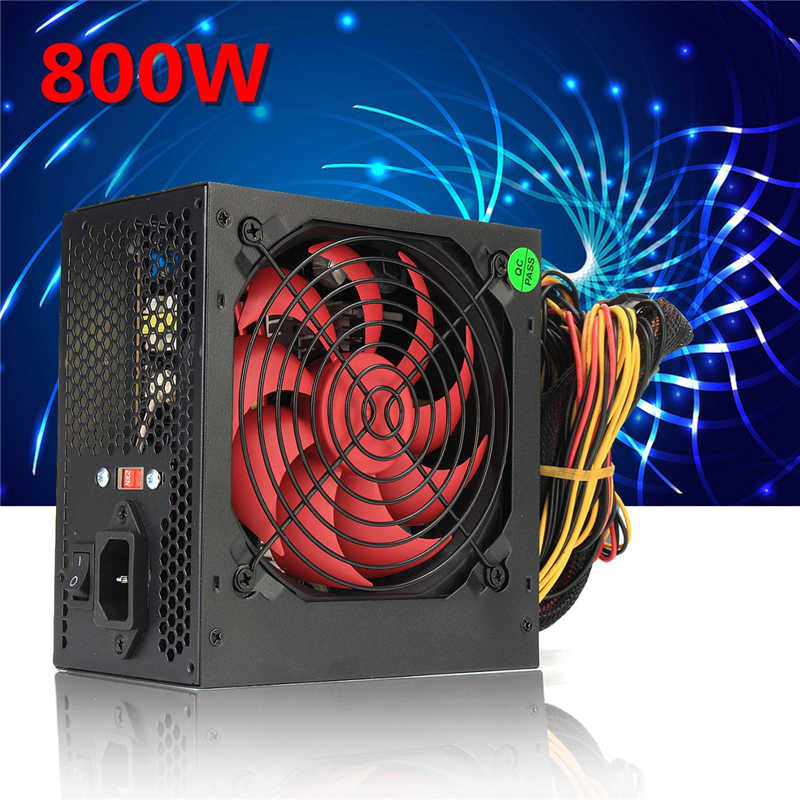 EU/AU Plug Black 800W 800 Watt Power Supply 120mm Fan 24 Pin PCI SATA ATX 12V Molex Connect Computer Power Supply 80+Gold