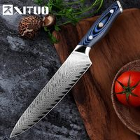 XITUO High Quality 8inch Damascus Chef Knife AUS10 Stainless Steel Kitchen Knife Japanese Santoku Cleaver Meat Slicing Knife AA