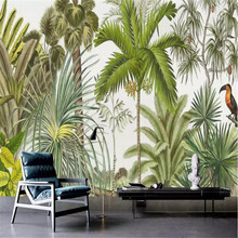 European retro tropical rainforest living room wall custom large wallpaper murals 3D photo manufacturers wholesale