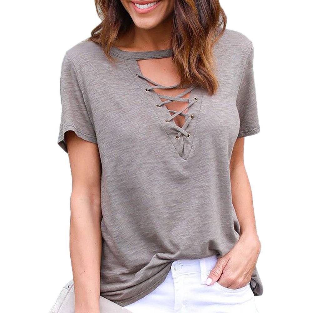 2017 Women Deep V Neck Straps Loose And Casual Short Sleeve Hollow Out Cross Strap Topps