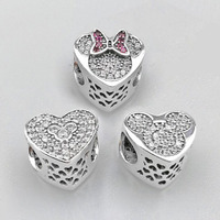 Good Quality CZ Paving Heart Shape 925 Pure Silver Mickey And Minne Charm Fitting European Silver