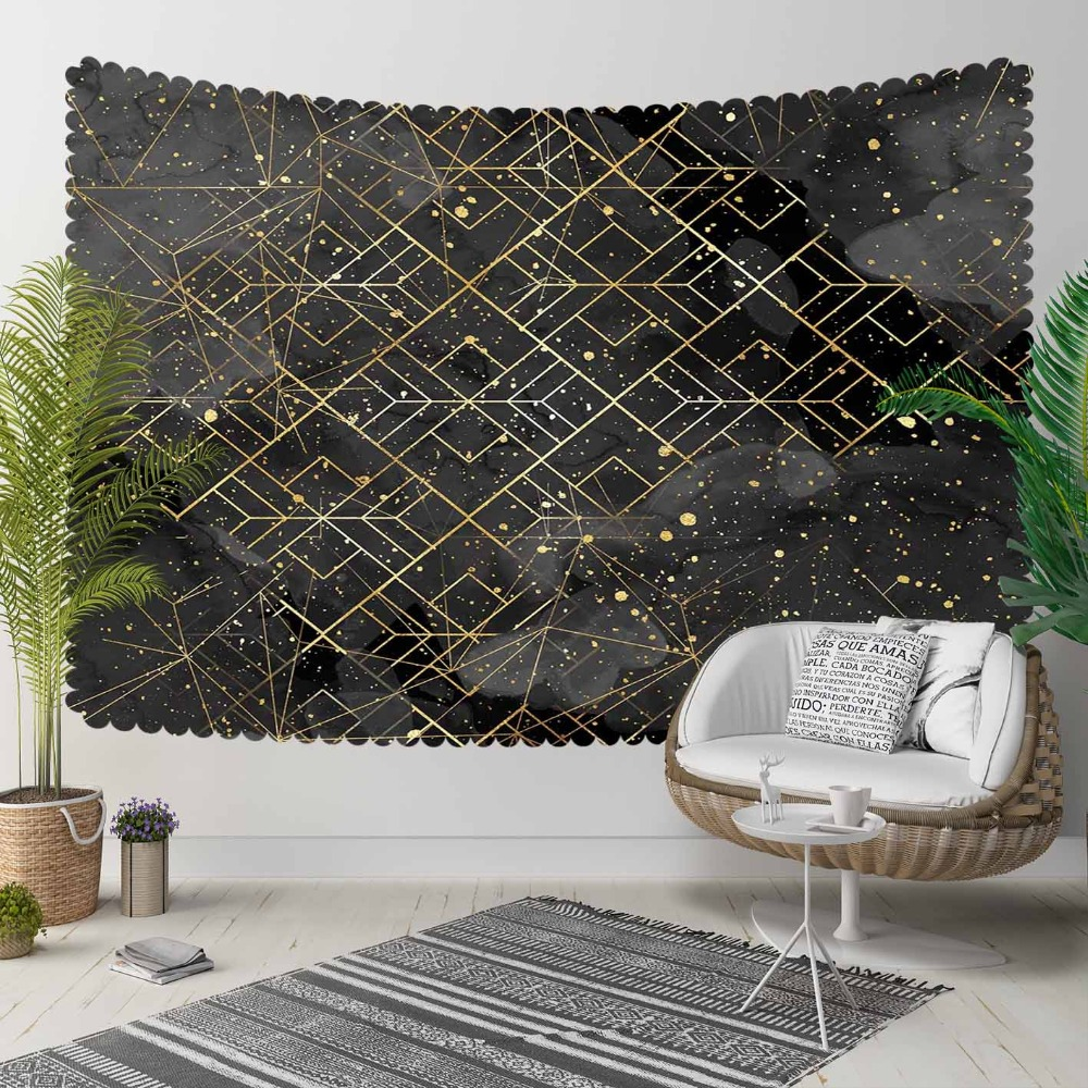 Else Black Golden Yellow Stars Geometric Lines 3D Print Decorative Hippi Bohemian Wall Hanging Landscape Tapestry Wall Art