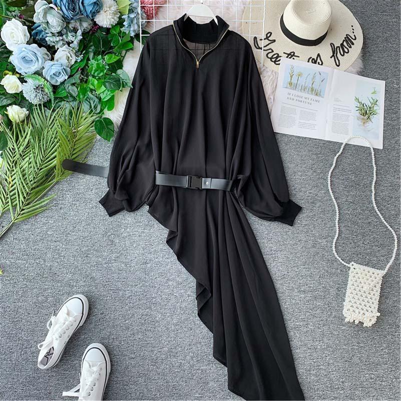 2019 Summer autumn Long Sleeve Ruffles Casual Dress Women iregular dress female Clothing beach style slash dress lantern sleeve in Dresses from Women 39 s Clothing