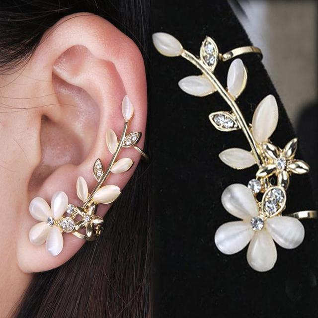 New 1pc Elegant Flower Shape Rhinestone Left Ear Cuff Clip Golden Earring Stud