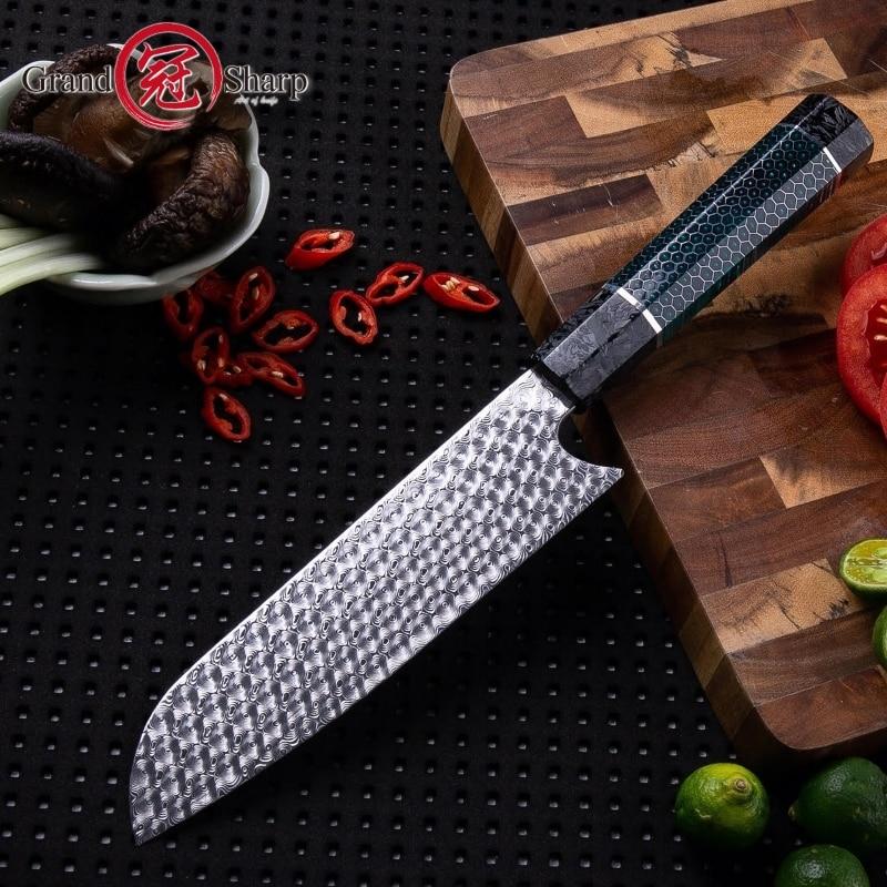 Handmade Chef Knife 110 Layers Damascus Steel Japanese Santoku Kitchen Knives Art Honeycomb Handle Professional Cooking Tools