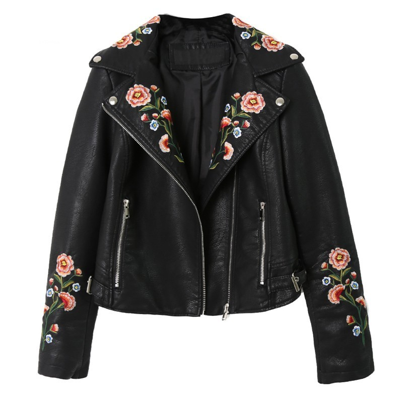 2019 New Women Pu   Leather   Jacket Floral Print Embroidery Motorcycle Turn-down Collar Short Punk Retro Faux Soft   Leather   Coat PY6