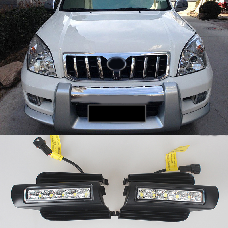 LED Daytime Running Light for Toyota Prado 120 LC120 GRJ120 2003~2009 Fog lamp drl bumper light parts accessories newest led daytime running light for toyota prado 120 lc120 grj120 2003 2009 fog lamp drl bumper light accessories parts