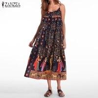 Plus Size 2017 Summer ZANZEA Women Casual Loose Dress Sexy Spaghetti Straps Sleeveless Backless Folk Print