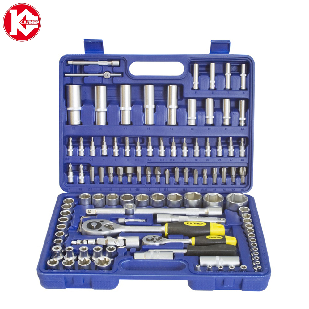 Cr-v hand tools set Kalibr NSM-108, 108pc Spanner Socket Set Car Vehicle Motorcycle Repair Ratchet Wrench Set veconor 8 10 12 13 15 17 19mm ratchet spanner combination wrench a set of keys gear ring tool ratchet handle chrome vanadium