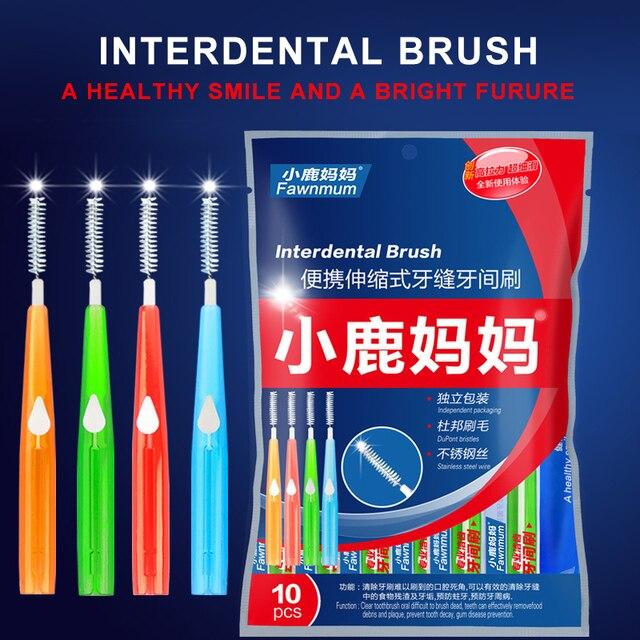 Venta al por mayor 10 unidades piezas Dental higiene Oral Push-pull Interdental cepillo de limpieza Dental para adultos cepillo de dientes cepillo palillo de dientes Oral