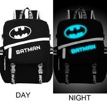Высочайшее качество ночь сверкающих студент ноутбук Супермен Бэтмен Рюкзаки Мультфильм Аниме школьный холст дорожные сумки флэш-пакет
