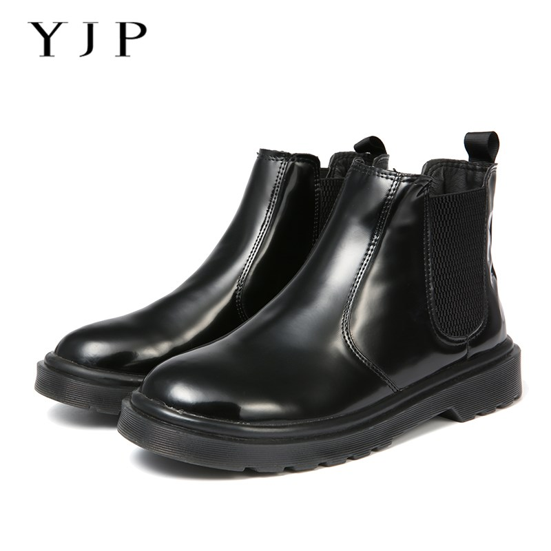 YJP Women Round Toe Flat Chelsea Boots, Black Patent Leather Slip On Shoes, Ladies Soft Warm Plush Thick Bottom Ankle Boots female pu leather thick high heel chelsea boots fashion slip on round toe women warm winter ankle boots black brown gray