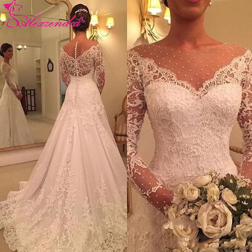 Alexzendra Lace Long Sleeves Mermaid Wedding Dresses 2019 Illusion Back Vintage Bride Dresses Customize Plus Size