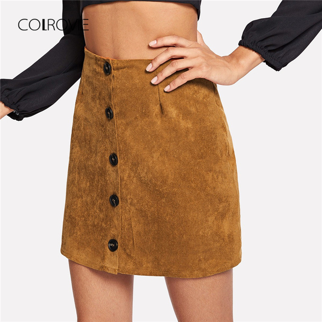 994dc16e5f COLROVIE Ginger Single Breasted Button Sexy Skirt Women 2018 Autumn Korean  Style Pencil Mini Skirts Womens Elegant Girls Skirts