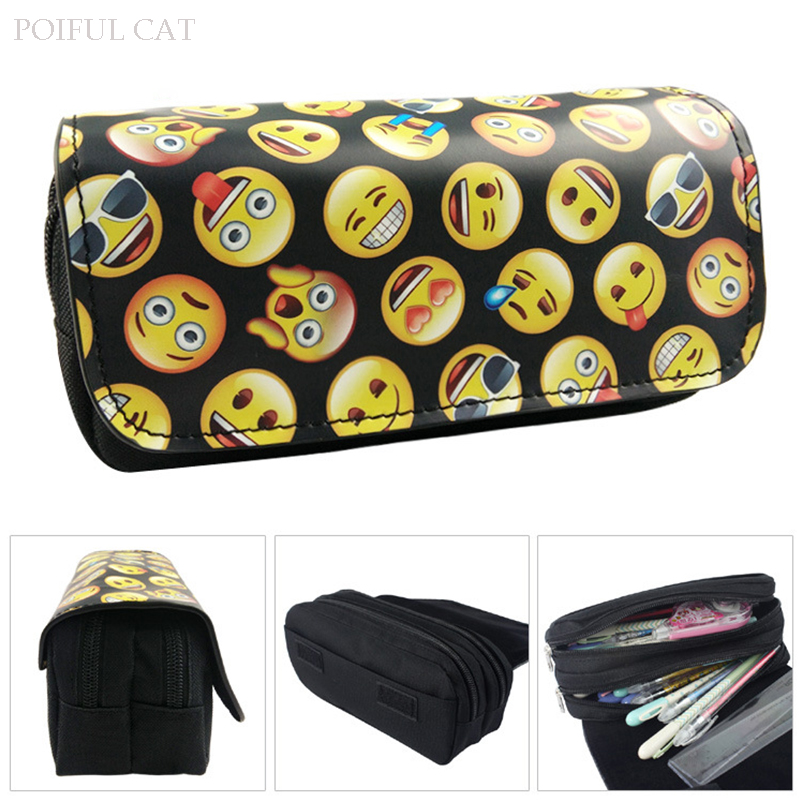 Cute Emoji pencil case Kawaii 3D PU leather big capacity pen pouch Double zipper Cosmetic makeup bag kids gift school supplies j26 kawaii cute moomin canvas pen bag pencil holder storage case school supply birthday gift cosmetic makeup travel