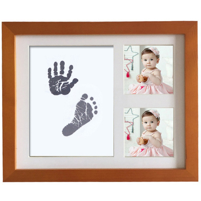 Newborn Baby Handprint Footprint Non Toxic Ink Pad Wood Photo Frame ...