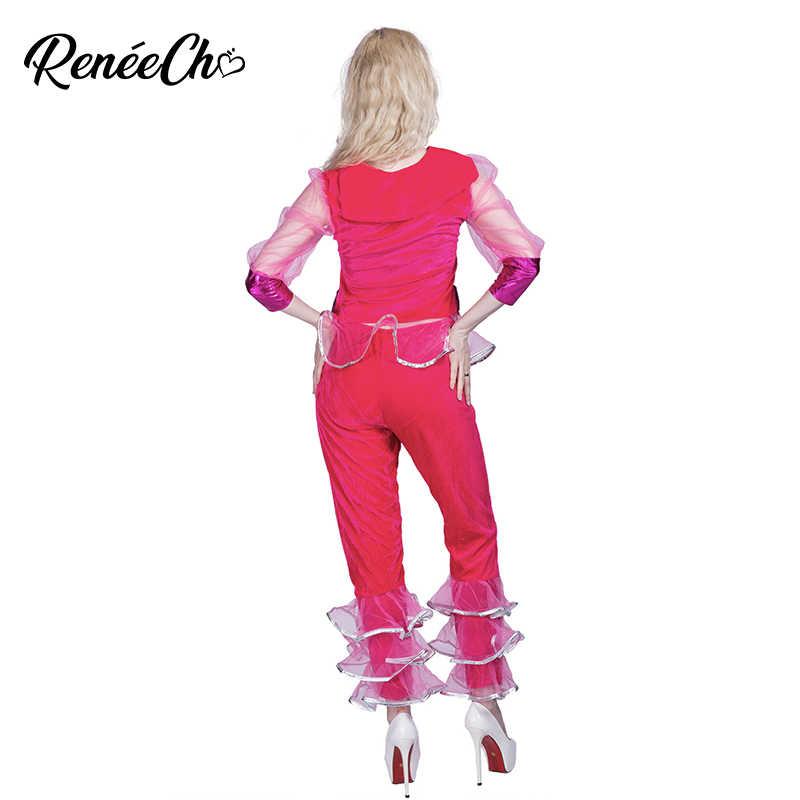 Reneecho 80 s Classico Costume di Halloween Per Adulti Cappotto Rosso E Vestito di Pantaloni Delle Donne Dazzling Discoteca Diva Costume Ballerino cosplay delle donne
