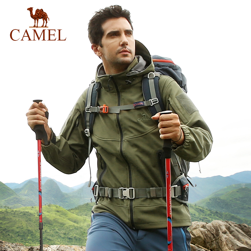 CAMEL Men Women Outdoor Softshell Hiking Jacket Waterproof Windproof Fleece Warm Fishing Hunting Windbreaker Tactical Clothing