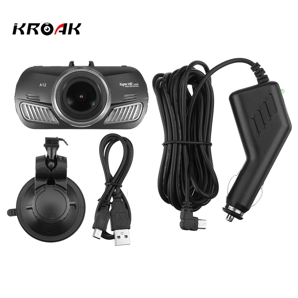 KROAK Car Vehicle HD 1440P Mini DVR Video Recorder Camcorder G-Sensor Night Vision Vehicle Traveling Date Recorder