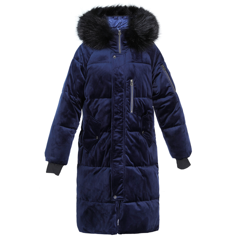 Women s winter cotton jacket Long section Fur collar hooded outerwear high quality thick warm Parka