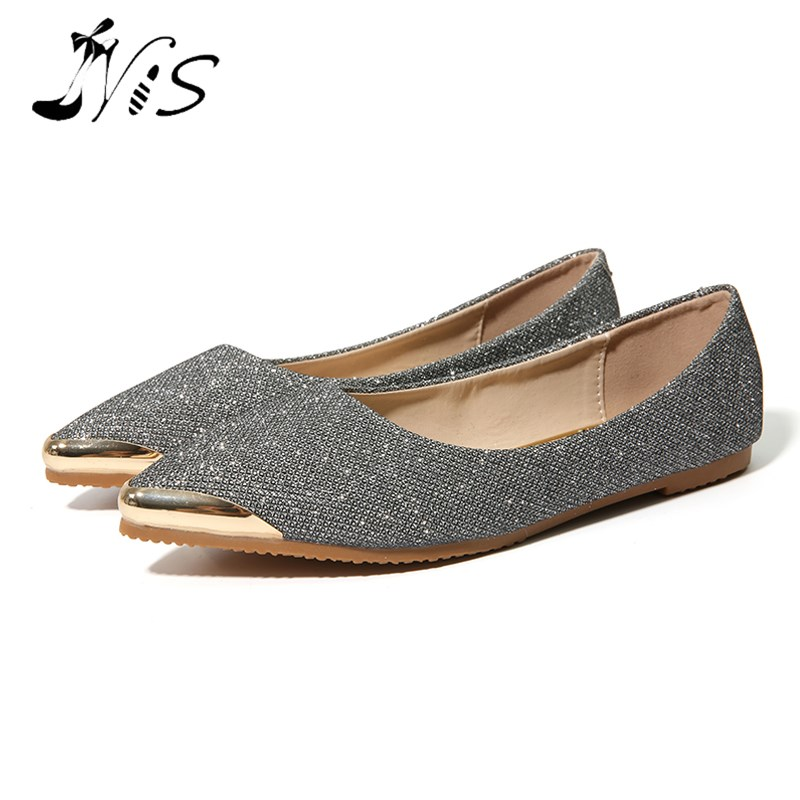 NIS Women Glitter Flat Shoes, Gold/Gray Metal Pointed Toe Bling Bling Flats, Ladies Fashion Shallow Mouth Solid Slip On Shoes gold sliver shoes woman for 2016 new spring glitter bling pointed toe flats women shoes for summer size plus 35 40 xwd1841