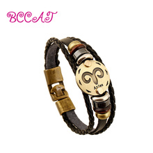 BCCAT Bronze Alloy Buckles 12 constellations Bracelet  Punk Personality Leather Zodiac Bracelet Personality Charm Bangle Jewelry