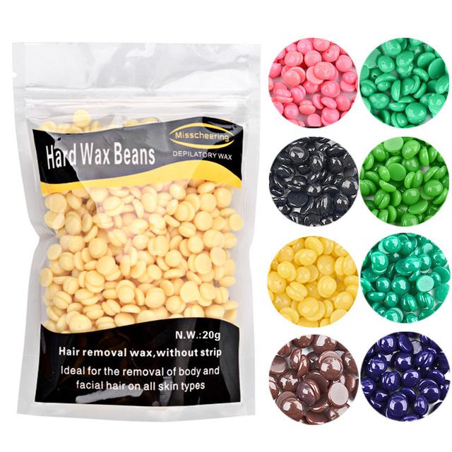 Top selling 9 flavors 20 g/bag Women's Depilatory Hot Film Hard Wax Pellet Waxing Bikini No Strip Hair Removal Bean TSLM2