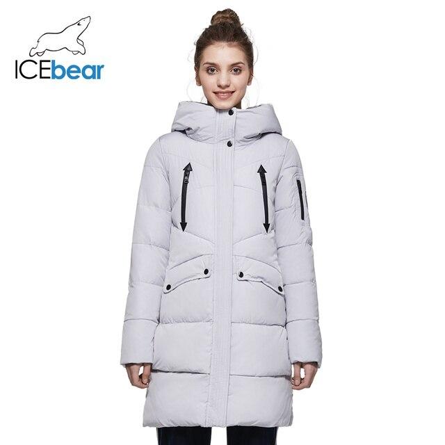 ICEbear 2017 Длинная женская зимняя тёплая парка с длинными рукавами модная качественная облегающая куртка с капюшоном для отдыха 16G6155D