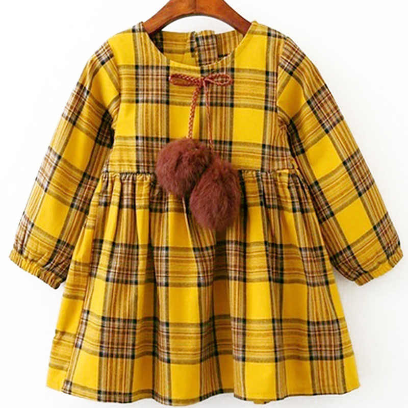 Girls Dress 2018 Spring and Autumn New Fashion Lapel Style Long-sleeved Plaid Princess Dress 100% Cotton Sweet Style Girls Dress