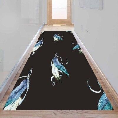 Autre bohème bleu oiseau plume noir plancher impression 3d antidérapant microfibre lavable Long coureur tapis de sol tapis tapis couloir tapis