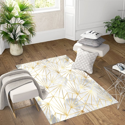 Else  Gray Clouds Golden Yellow Lines Geometric 3d Print Non Slip Microfiber Living Room Decorative Modern Washable Area Rug Mat