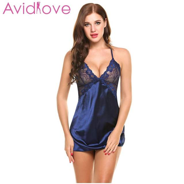 Avidlove Sexy Nightgown Lingerie Fashion Patchwork Nightdress Women Sheer  Scalloped Satin Nightwear Silk Slip Sleepwear Chemises 732ed568d