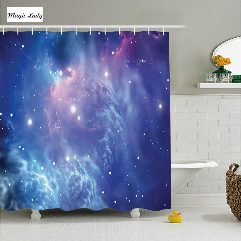 Shower Curtain Blue Bathroom Accessories Star Cluster Mysterious Astronomy Outer Space Galaxy